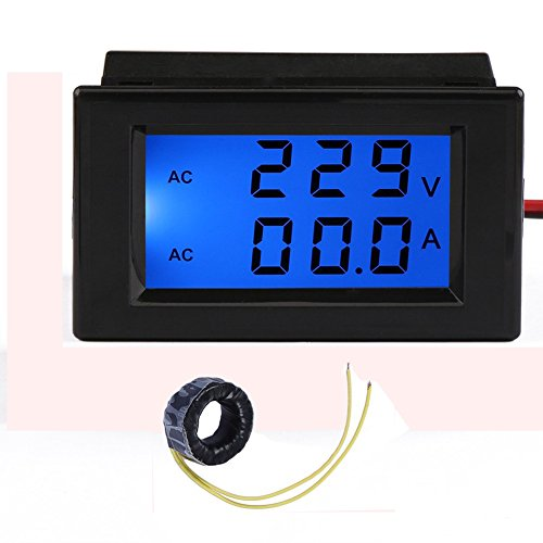 GEREE AC 80/ 300V 100A Digital Voltage Current Multimeter LCD Volt Amp Meter Gauge Panel Tester Voltage Amperage Dual Display LED Power Monitor with Blue Back-light and Current Transformer (Black) (Current Transformer Coil compare prices)