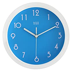 HITO Modern Colorful Silent Non-ticking Wall Clock- 10 Inches (Blue)