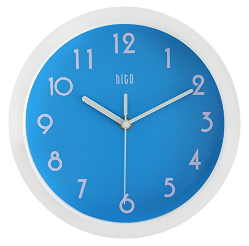 HITO-Modern-Colorful-Silent-Non-ticking-Wall-Clock-10-Inches-Blue