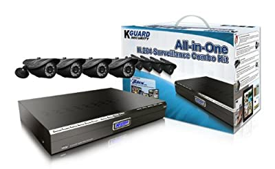 KGUARD SecurityInc. BR801-4CW214H-500G BR Series 8-Channel H.264 DVR with 4x 420TVL Cameras, 500GB HDD Home Security Surveillance Kit (Black)