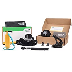 EEEKit 8-in-1 Accessories Kit for Gopro Hero4 Black/Silver Hero HD 3+/3/2/1 Camera, Head Belt Strap