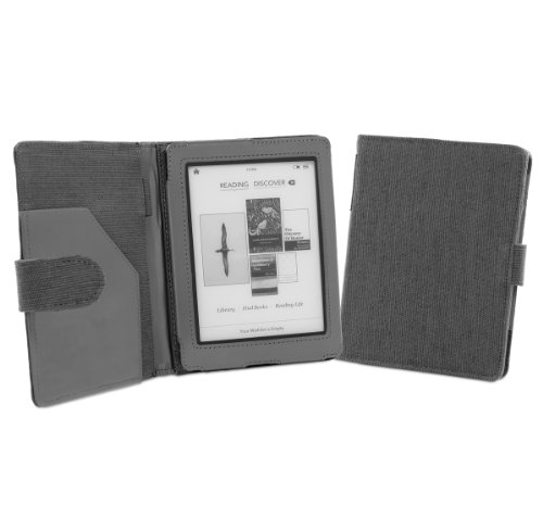 Cover-Up Kobo Mini (5-inch) eReader Natural Hemp Cover Case With Auto Sleep / Wake Function (Book Style) - (Slate Grey)