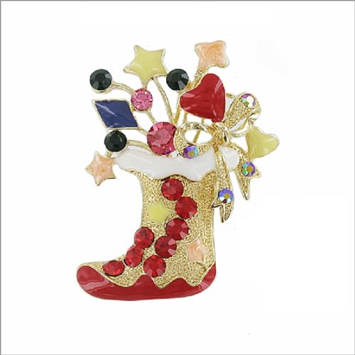 Christmas Stocking with Stone Design Pin #040136