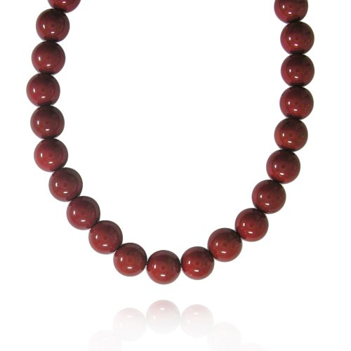 12mm Plain Round Red Jasper Bead Necklace, 18+2