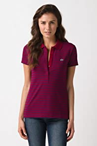 Short Sleeve Stretch 5 Button Stripe Polo