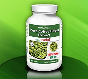 Best Naturals Green Coffee Bean Extract with SVETOL, 800 mg per Capsule, 120 Vegetarian Capsules (200 mg Svetol plus 600 mg Green Coffee Bean Extract per 2 capsules) from Best Naturals
