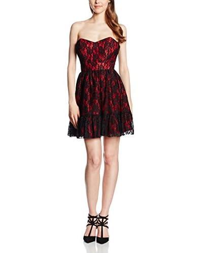 Rare London Vestido Contrast Lace Rojo / Negro