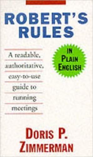 Robert's Rules in Plain English written by Doris P. Zimmerman