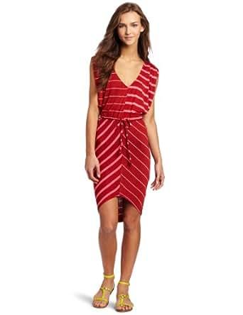 Volcom Juniors Sugarhill Striped Dress, Rusty Red, X-Small