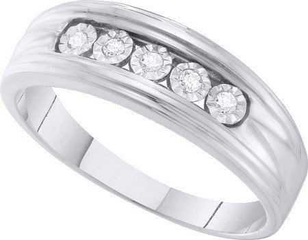 DIAMOND BAND 0.10CT DIAMOND FASHION MENS BAND GEOX4138/W Size O