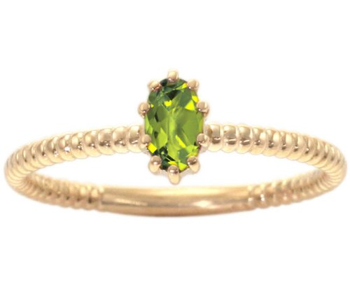 14K Yellow Gold Petite Oval Gemstone Solitaire Stackable Ring-Peridot, size6