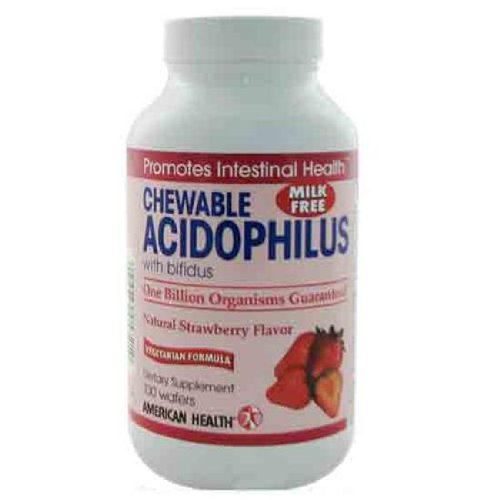 American Health Chewable Acidophilus With Bifidus Strawberry - 100 Wafers, (Pack Of 12)