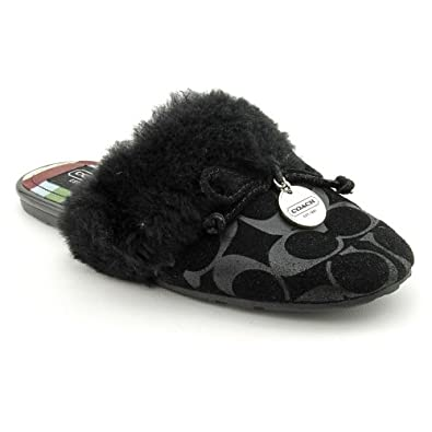 Coach Carra Womens Size 6.5 Black Suede Slipper Shoes