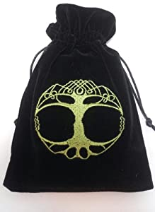 Tree of Life Embroidered Black Luxury Velvet Drawstring Tarot / Oracle Card Bag