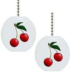 Set of 2 Cherries Cherry Fruit Solid CERAMIC Fan Pulls