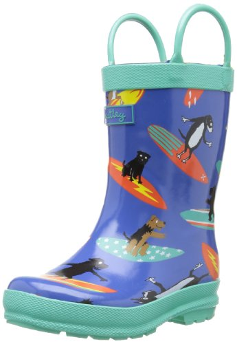 Hatley Little Boys' Rainboots Surfing Dogs, Blue, 5 front-940724