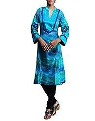 Unnati Silks Women Pracheen kala Multocolor Pochampally cotton ikkat woven Anarkali kurta