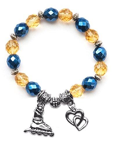"""Inline Hockey Skate"" Girls Roller Hockey Bracelet (Team Colors Navy Blue & Gold)-Large"