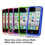 Power Pack Five Soft Rubber Silicon Skin Cover Case Combo for Apple iPhone 4 4G