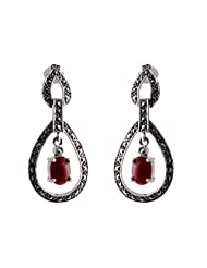 Aashirwad Red & Silver Dangle & Drop Earrings For Women - B00TI6ZNBI