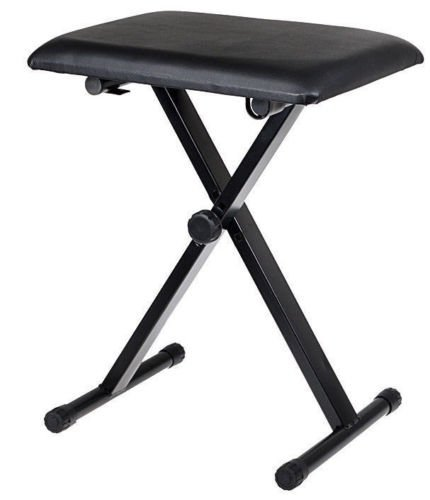 Black Adjustable Piano Keyboard Bench Leather Padded Seat Fo