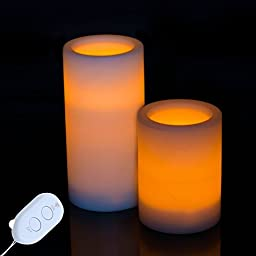Solarmks Flameless Candles Lights Unscented with Remote Control Romantic Wireless Battery Powered Led Lights for Bedroom Living Room Holidays as Gift Stunning Decoration,2 of Pack