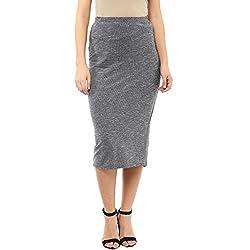 Femella Fashion's Grey Pique Midi Skirt (DS-2050050-1253-BWG-L )