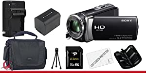 Sony HDR-CX190 High Definition Handycam Camcorder (Black) 32GB Package