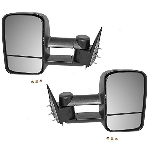 Driver and Passenger Manual Telescopic Tow Mirrors Performance Upgrade Replacement Chevy Cadillac GMC Pickup Truck GM1320416 GM1321416 (1999 Silverado Tow Mirrors compare prices)