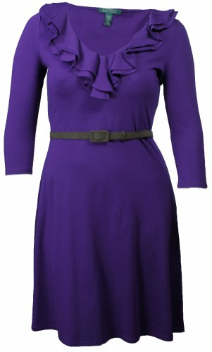 Lauren Ralph Lauren Women'S Ruffle Collar Dress Purple (Large) [Apparel]