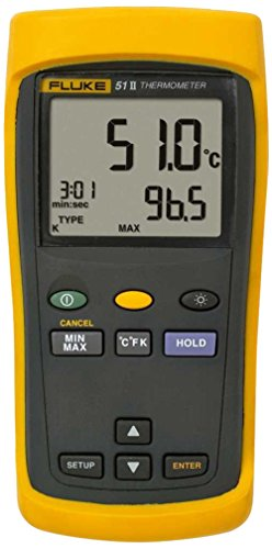 Fluke 51-2 Single Input Digital Thermometer, 3 AA Battery, -418 to 2501 Degree F Range, 60 Hz Noise Rejection