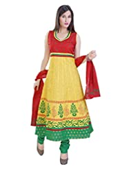 Divinee Yellow And Red Cotton Readymade Anarkali Suit