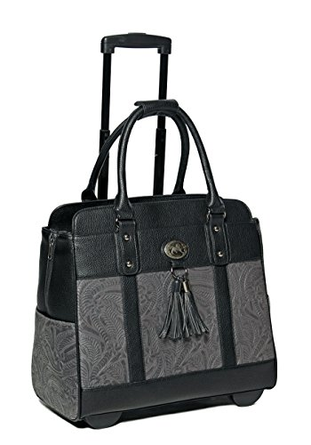 Black and gray rolling laptop bag with wheels and handle