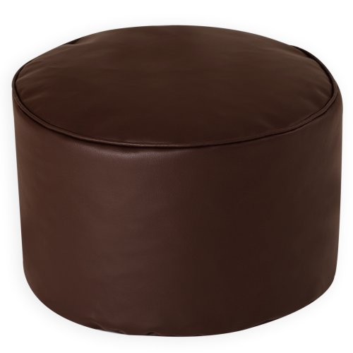 Round Beanbag Stool in BROWN Faux Leather