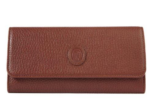 Trussardi portafoglio portamonete donna in pelle bifold marrone