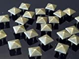 100 X 7mm Brass Square Pyramid Craft Studs, Fashion Embellishment for Bag Shoe