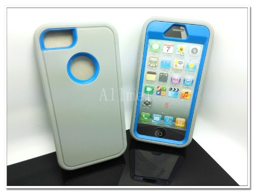 =>  Multi Color Iphone 5 5S Body Armor Silicone Hybrid Cove Hard Case, Three Layer Silicone PC Case Cover for iPhone 5 5S (Grey+Blue)