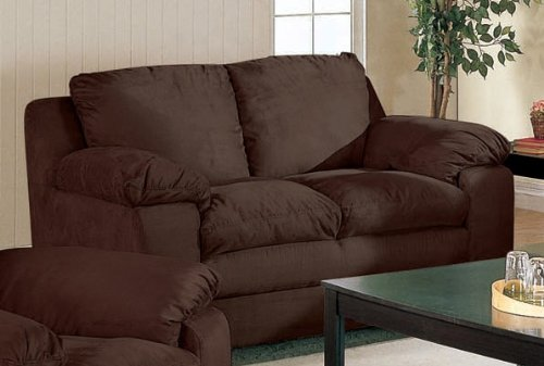 Buy Low Price Coaster Loveseat Sofa in Chocolate Microfiber (VF_501302)