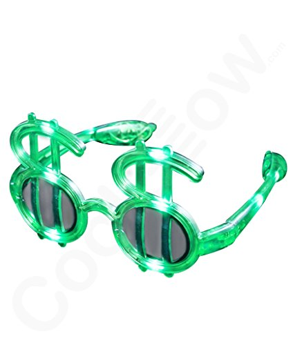 Fun Central G733 LED Light Up Green Dollar Shades