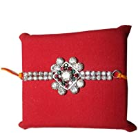Handicrunch Beautiful Square Pattern Stones Mix Bracelet Rakhi For Brothers