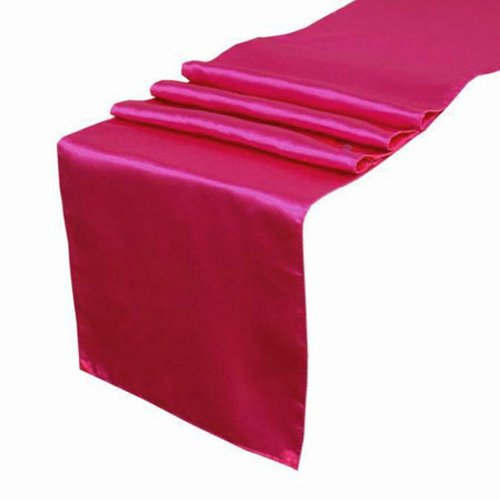 OurWarm Hot Pink Satin Table Runner 12