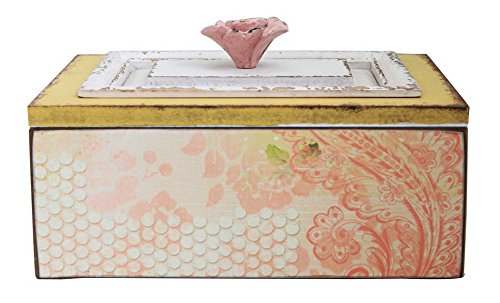 Vintage Decorative Wooden Case Keepsake Box with Floral Lid 10 x 8 inch, Distressed Yellow Pink