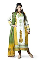 Rajnandini Women's Yellow & Green colour pure cotton Printed Unstitched salwar suit Dress Material (Free Size)