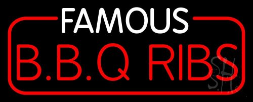 """Famous BBQ Ribs Outdoor Neon Sign 13"""" Tall X 32"""" Wide X 3.5"""" Deep"""