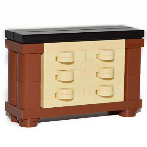 LEGO Furniture: Large Elegant Dresser Highly Detailed in Brown, Tan & Black - 1