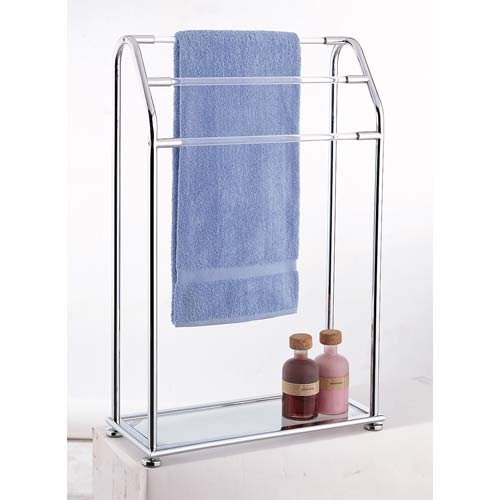 Bathroom Towel Rack Holder 3 BAR Glass Shelf Free Standing
