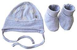Babeez Baby Boy Cap + Booties, All Over Printed cap with strings & solid booties (100% Cotton Interlock) to fit height 56 - 62cms