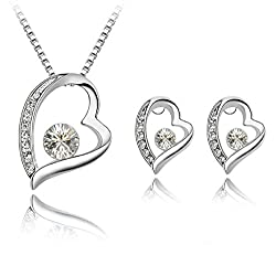 Sorella'Z Crystal White Pendant Necklace With Earrings Set And Bracelet For Girls/Women