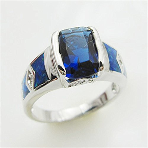 Top Selling Square Sapphire Blue Fire Australia Opal Real Plated Silver Ring
