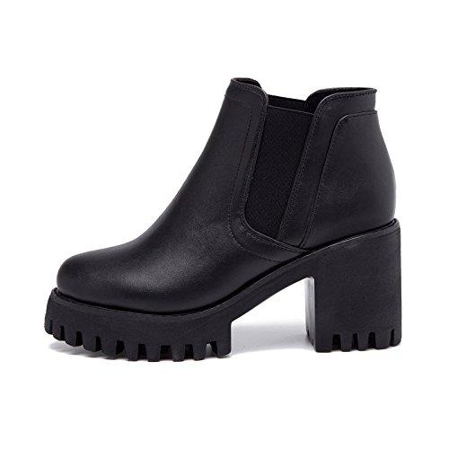 XIUSHANG Testa rotonda casual stivali scarpe autunnale e l'invernale, stivaletti neri, spesso con fondo spesso , black , 39